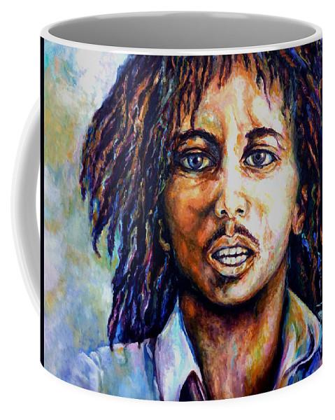 Original Fine Art By Lloyd Deberry Coffee Mug featuring the painting Bob Marley by Lloyd DeBerry