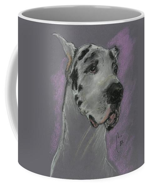 Great Dane Coffee Mug featuring the drawing Bodhi's Mystique by Cori Solomon