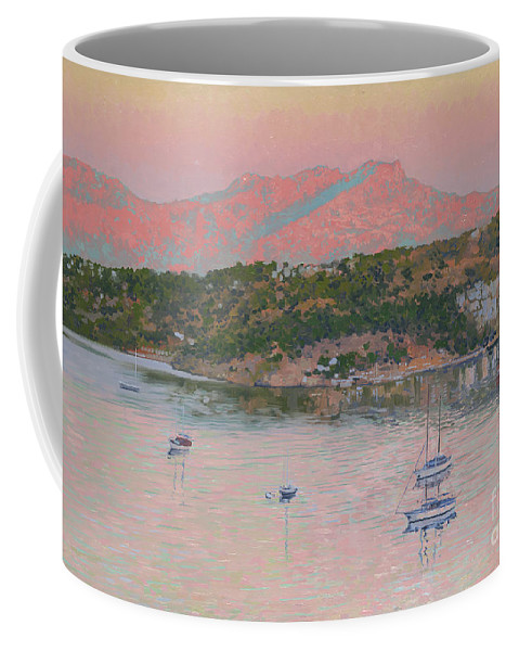 Bodrum Coffee Mug featuring the painting Bodrum.pink Sunrise by Simon Kozhin