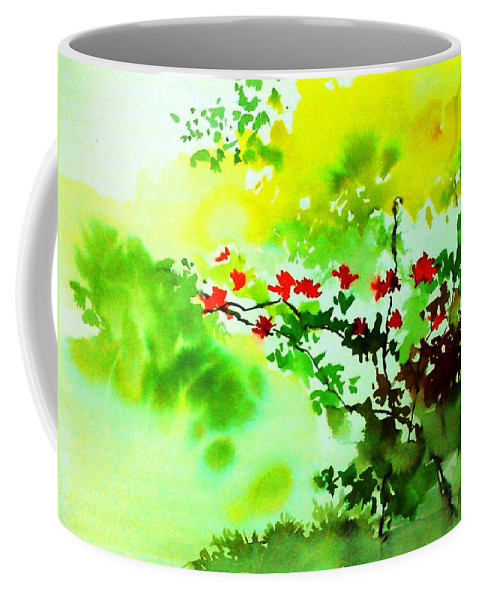 Floral Coffee Mug featuring the painting Boganwel by Anil Nene