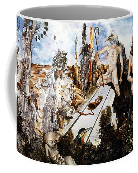 Surrealism Coffee Mug featuring the painting Bogomils Court by Otto Rapp