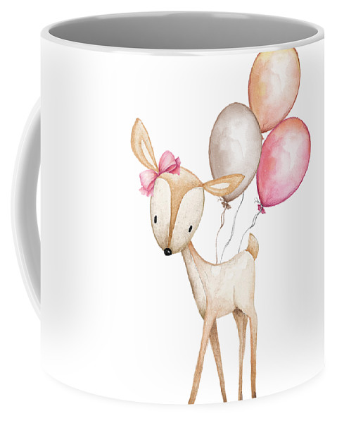 Boho Coffee Mug featuring the photograph Boho Deer With Balloons by Pink Forest Cafe