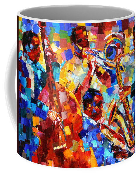 Jazz Coffee Mug featuring the painting Bold Jazz Quartet by Debra Hurd