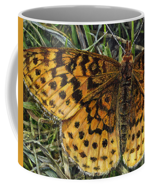 Butterfly Coffee Mug featuring the painting Boloria Bellona by Shana Rowe Jackson