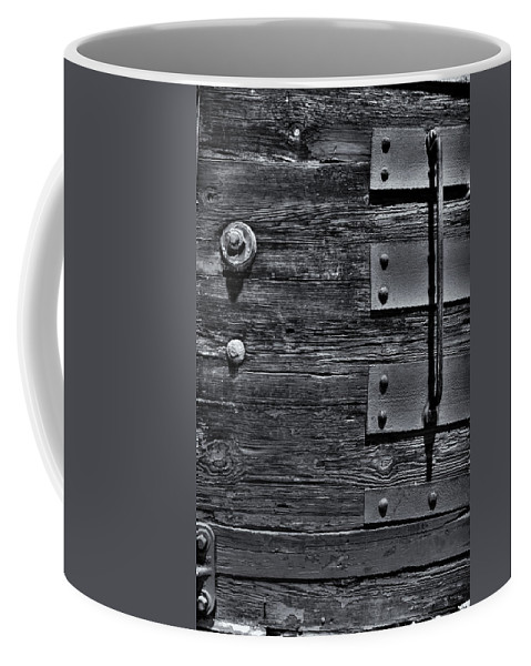 Wood Coffee Mug featuring the photograph Bolted Wood by Scott Wyatt