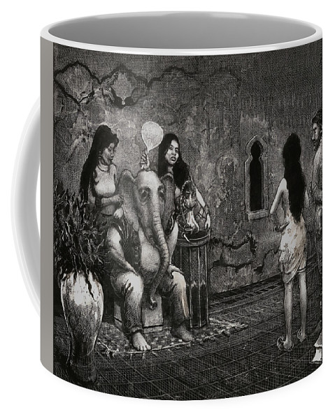 Scratchboard Drawing Coffee Mug featuring the drawing Bombay by Scott Gillis