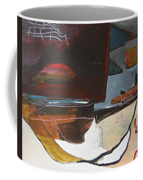 Abstract Atlantic Newfoundland Landscape Seascape Ocean Acrylic Paper Dusk Bonavista Canvas Coffee Mug featuring the painting Bonavista At Dusk by Seon-Jeong Kim