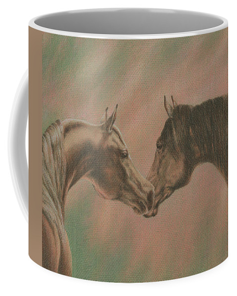 Horse Coffee Mug featuring the drawing Bonding by Yelena Shabrova