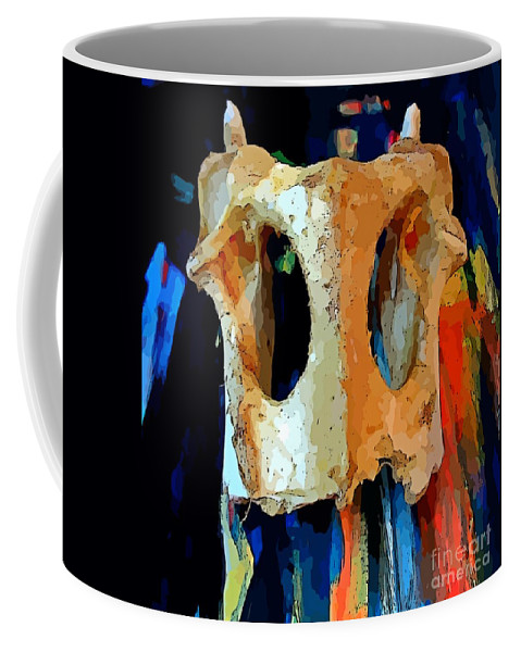 Bone And Paint Abstract Coffee Mug featuring the painting Bone And Paint Abstract by John Malone
