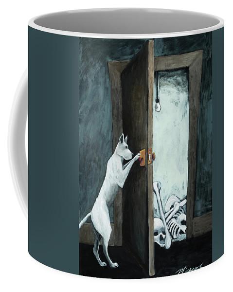 Dog Coffee Mug featuring the painting Bone Collector by Shari Michaud