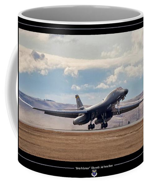 Aviation Coffee Mug featuring the digital art Bone-in Lancer by Peter Chilelli