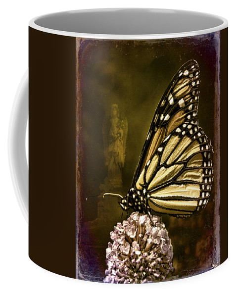 Monarch Coffee Mug featuring the photograph Boneyard Butterfly by Chris Lord
