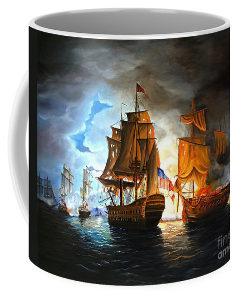 Naval Battle Coffee Mug featuring the painting Bonhomme Richard Engaging The Serapis In Battle by Paul Walsh
