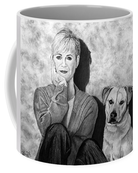 Bonnie Hunt And Charlie Coffee Mug featuring the drawing Bonnie Hunt And Charlie by Peter Piatt