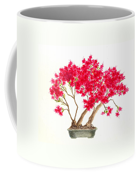 Japan Coffee Mug featuring the painting Bonsai Tree - Kurume Azalea by Michael Vigliotti