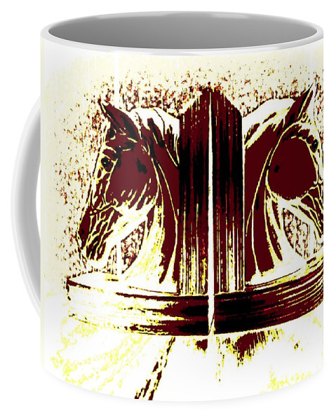 Horses Coffee Mug featuring the digital art Bookend Buddies by Will Borden