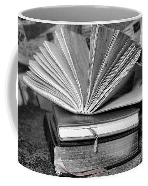 Books Coffee Mug featuring the photograph Books In Black And White by Pamela Walton