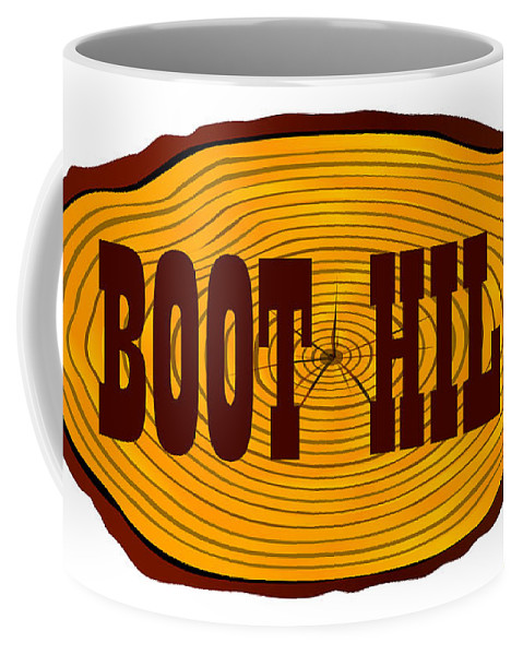 Boot Coffee Mug featuring the digital art Boot Hill Log Sign by Bigalbaloo Stock