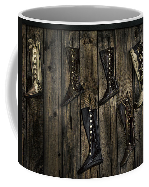 Boots Coffee Mug featuring the photograph Boots Anyone? by Eleanor Bortnick