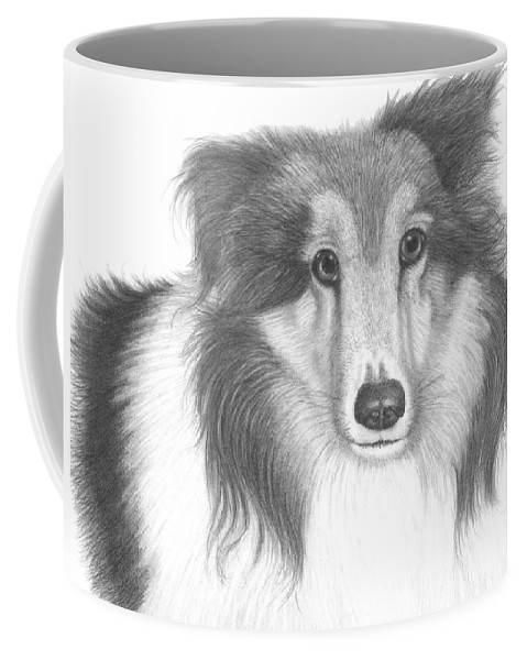 Dog Coffee Mug featuring the drawing Boots by Lawrence Tripoli