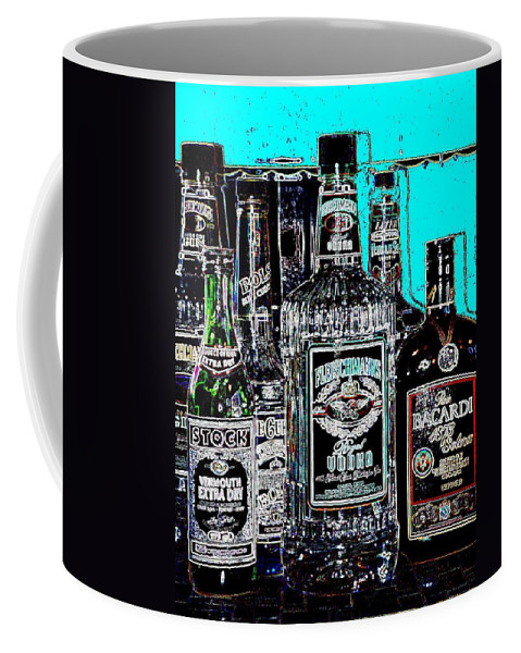 Bottles Coffee Mug featuring the digital art Boozy Line Up With Aqua by Anita Burgermeister