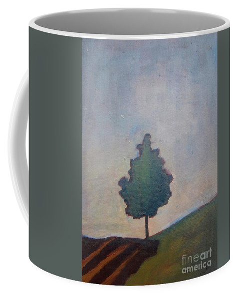 Tree Coffee Mug featuring the painting Bordering Tree by Vesna Antic