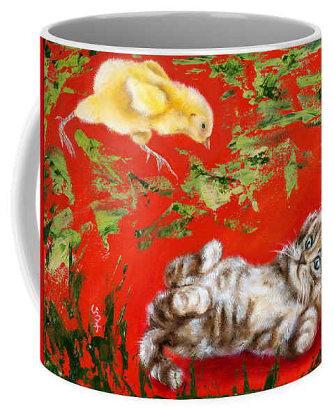 Cat Coffee Mug featuring the painting Born To Be Wild by Hiroko Sakai