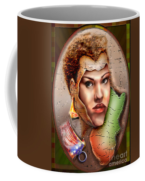 Woman Face Coffee Mug featuring the painting Borne A Nation by Reggie Duffie