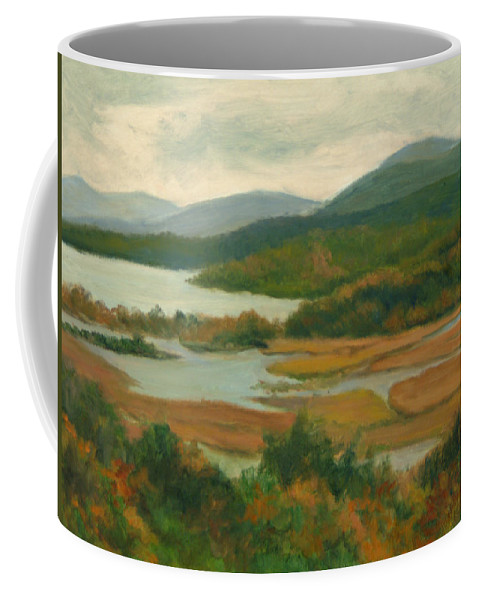 Landscape Coffee Mug featuring the painting Boscobel Fall Colors by Phyllis Tarlow