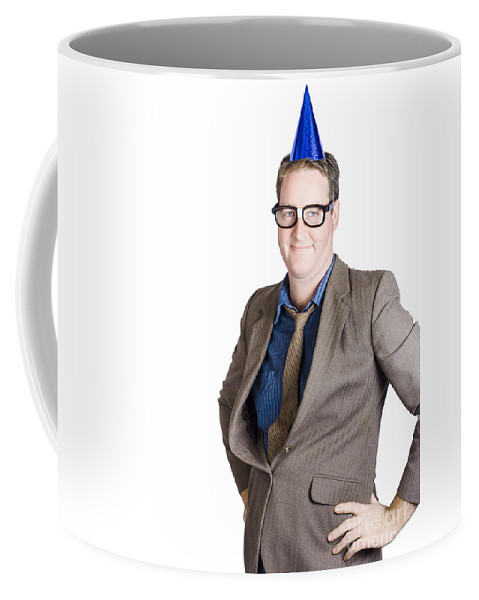 White Coffee Mug featuring the photograph Boss Wearing Party Hat. Big Birthday Boy by Jorgo Photography - Wall Art Gallery