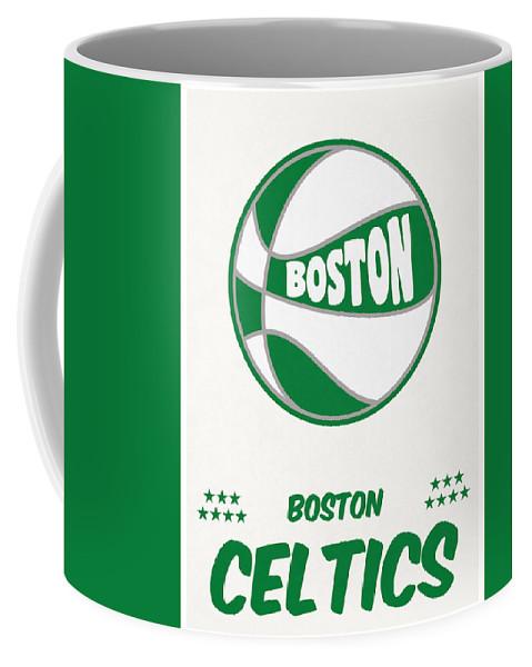 Celtics Coffee Mug featuring the mixed media Boston Celtics Vintage Basketball Art by Joe Hamilton