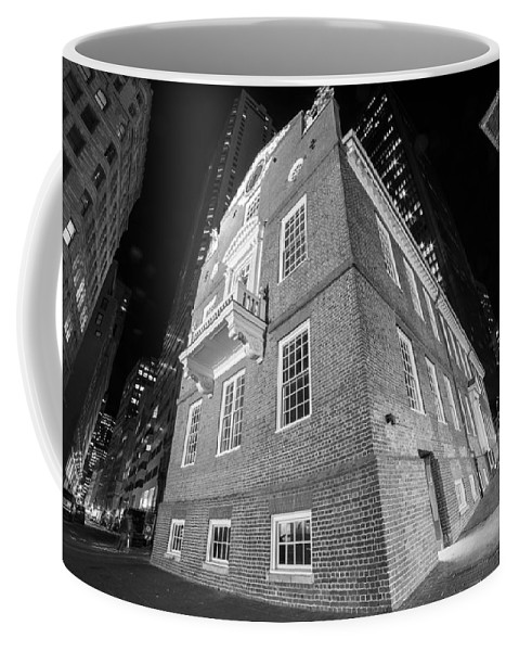 Boston Coffee Mug featuring the photograph Boston Old State House Boston Ma Angle Black And White by Toby McGuire