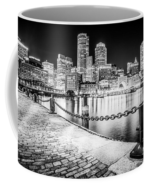 America Coffee Mug featuring the photograph Boston Skyline at Night Black and White Picture by Paul Velgos