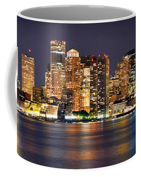 Boston Skyline At Night Coffee Mug featuring the photograph Boston Skyline At Night Panorama by Jon Holiday
