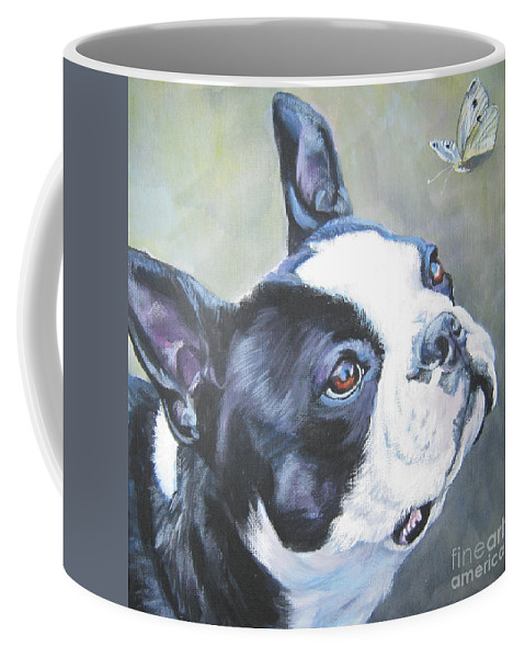 Boston Terrier Coffee Mug featuring the painting boston Terrier butterfly by Lee Ann Shepard