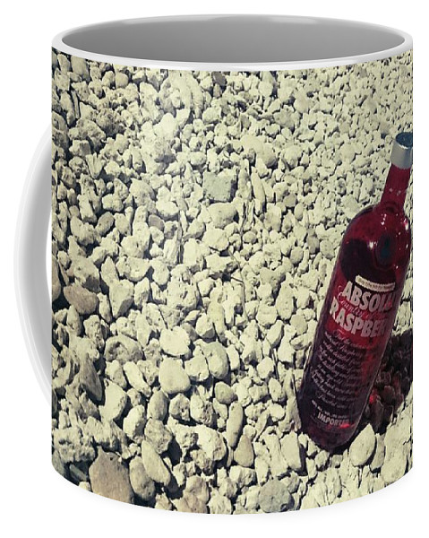 Red Coffee Mug featuring the mixed media Bottle And The Beach by Katherine Anne Densing