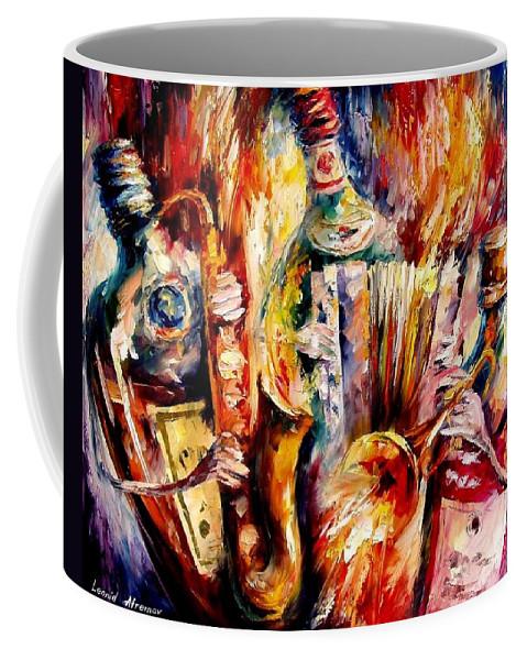 Bottle Jazz Coffee Mug featuring the painting Bottle Jazz by Leonid Afremov