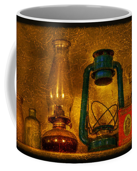 Bottle Coffee Mug featuring the photograph Bottles And Lamps by Evelina Kremsdorf