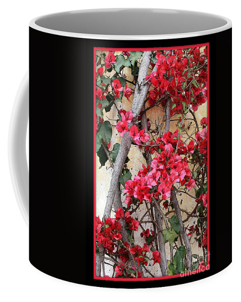 Bougainvillea Coffee Mug featuring the photograph Bougainvillea On Mission Wall - Digital Painting by Carol Groenen