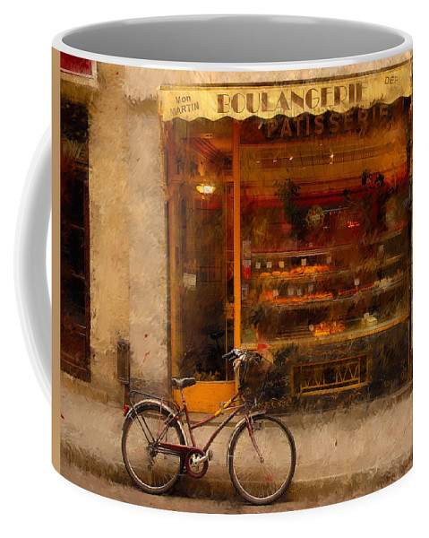 Paris France Coffee Mug featuring the photograph Boulangerie And Bike 2 by Mick Burkey