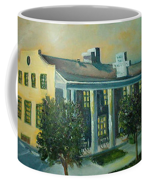 An Old Haunted Hotel In Boulder City Nevada Coffee Mug featuring the painting Boulder Dam Hotel, Boulder City, Nevada by Charme Curtin