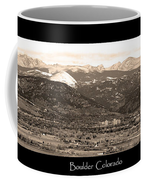 Boulder Coffee Mug featuring the photograph Boulder Colorado Sepia Panorama Poster Print by James BO Insogna