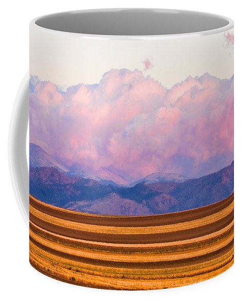 \nature Photography\ Coffee Mug featuring the photograph Boulder County Farm Fields At First Light Sunrise by James BO Insogna