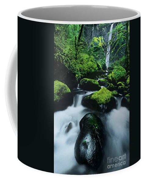 Columbia River Gorge Coffee Mug featuring the photograph Boulder Elowah Falls Columbia River Gorge Nsa Oregon by Dave Welling