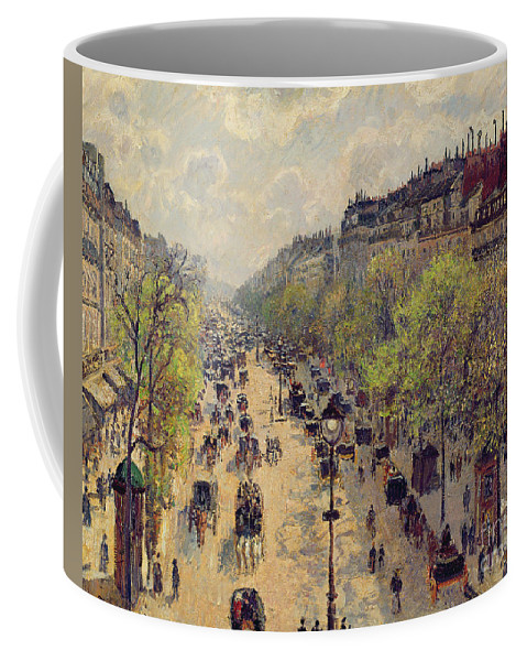 Pissarro Coffee Mug featuring the painting Boulevard Montmartre by Camille Pissarro