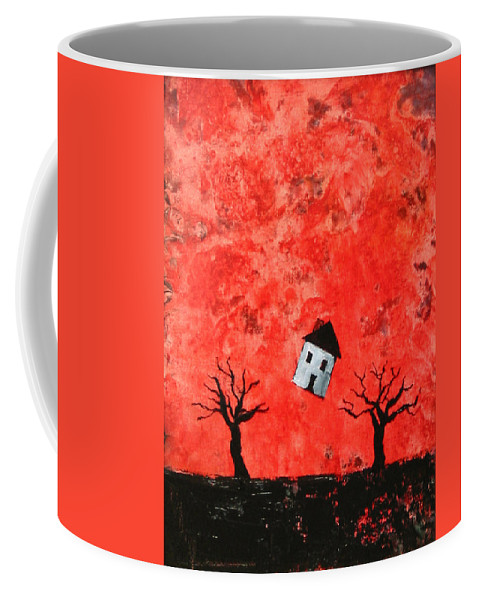 House Coffee Mug featuring the painting Bouncing House Fiery Sky by Pauline Lim