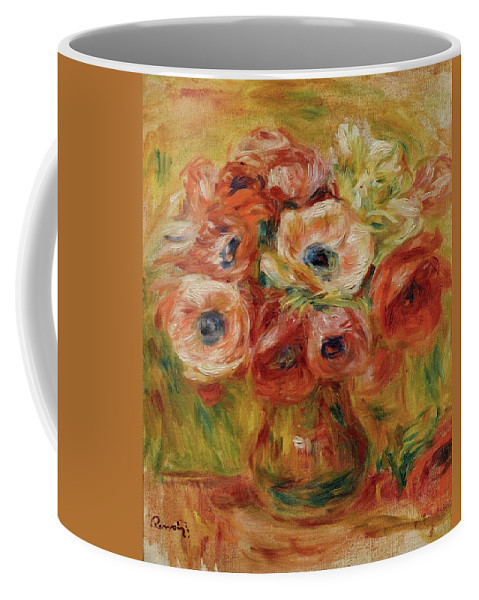 Renoir Coffee Mug featuring the painting Bouquet Danmones by MotionAge Designs