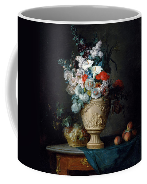Bouquet Of Flowers In A Terracotta Vase With Peaches And Grapes Coffee Mug featuring the painting Bouquet Of Flowers In A Terracotta Vase With Peaches And Grapes by Anne Vallayer Coster
