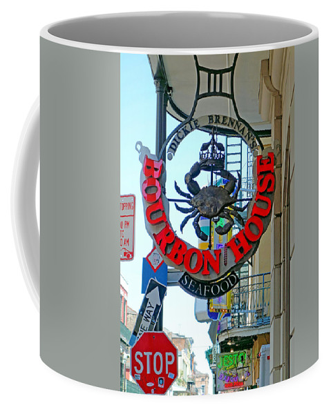 Bourbon House Coffee Mug featuring the photograph Bourbon House Signage by Robert Meyers-Lussier