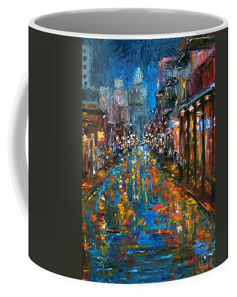New Orleans Coffee Mug featuring the painting Bourbon Street Blues by Debra Hurd